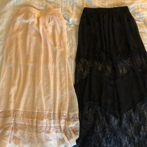 Two sheer/lace maxi skirts